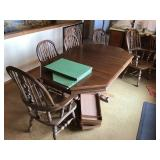 Table with six chairs  2 Leaves and pads