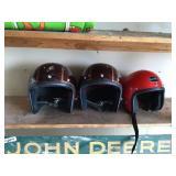 3 Vintage motorcycle helmets