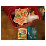Tote with puzzles and toys