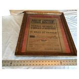 Antique framed sale bill