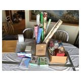 Wrapping paper ribbons and cards