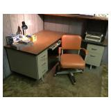 Two piece office desk and chair