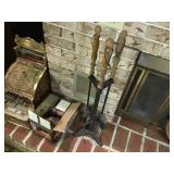 Fireplace tools and starter logs