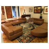 Harvey Probber 9 pc leather cubist modular seating