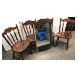 Kitchen chairs, mirror