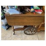 Wood Cart on Wheels w/2 folding leaves