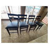 4-Wood Folding Chairs w/Vinyl Seats