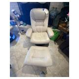 Camel Colored Leather Reclining Chair w/Footstool