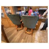 Pair Counter Height Wood Stools w/plush green upho