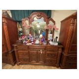 """Wood Dresser w/Mirror 68""""L x 17""""W x 36-1/2""""H"""