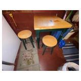 """Small Kitchen Table w/2 Stools 24""""L x 24""""W x 30""""H"""