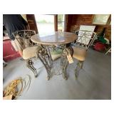 """Round 30"""" Bar Height Table w/wrought Iron Base"""