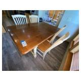 Wood Kitchen Table & 4 Matching Chairs