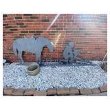 Outdoor Metal Sculpture Horse & Cowboy Kneeling