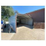 Metal Frame Tin Siding Carport 21ft L x 18ft W x 9
