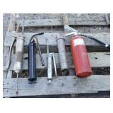 3 Grease Guns/ 1 Fire Extinguisher
