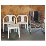 2 White Chairs w/ Table, Camp Chair