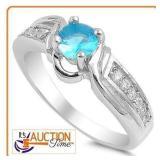 Solid Silver Ring Detailed Blue Amethyst Gems SZ9