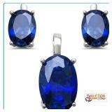 Blue Sapphire Three Piece Oval Earring Pendant Set