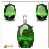 Matching EMERALD Earrings and Pendant 925 Silver