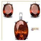 Matching RUBY Earrings and Pendant 925 Silver