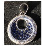 Pendant Blue Sapphire White Diamonds Solid Silver