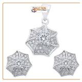 White Sterling Silver Earring Pendant Jewelry set