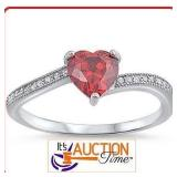 Heart Shaped Garnet with Gem Accents Silver Ring