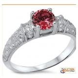 Red Ruby Ring solid .925 Sterling Silver Size 5