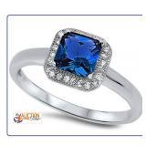 Blue Cushion Cut Ring Solitaire W/ White Gems SZ4