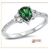 Pear Shape Emerald Sterling Silver Ring SZ8