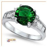 Emerald Ring Silver Sterling Silver SZ8