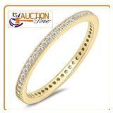 White gems Eternity 925 Sterling Silver Ring SZ8