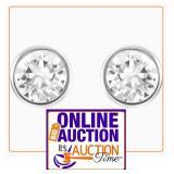 Brilliant Cut Bezel.925 Silver Stud Earrings 9MM