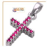 Pendant RED RUBY Solid Silver