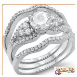 1.50ct Round 3 Rings Wedding Set .925 Solid Silver
