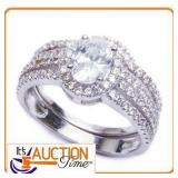 1.25Ct Oval Cut Engagement Set .925 Solid Silver