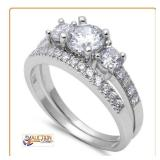 3 Round Stone Wed Set 2ct .925 Sterling Silver
