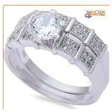 Round 2Ct Solitaire Wed Set .925 Silver