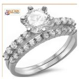 Round 2Ct Solitaire Wed Set 925 Sterling Silver