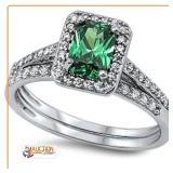 Green Emerald 2 Rings Set .925 Sterling Silver