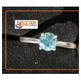Solitaire Moissanite Silver Sky Blue Size 5 3/4