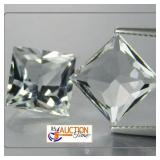 One Pair White Topaz Square Cut in Grade AAA 7MM