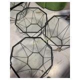 3 Tables, Glass Top Black Aluminum Base