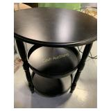 Round Table, Black Veneer w/2 Shelves