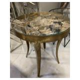 Table, Brass w/Leaf  Inlay & Glass T0p