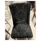 2 Black Microfiber Chairs w/Flower Pattern