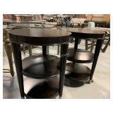 2 Round  End Tables, Veneer Wood w/ 2 Shelves