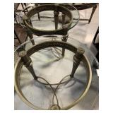 2 Round End Tables & 1 Oval Coffee, Glass Top