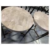 2 Tables, Granite Style Top w/Bronze Color Legs
